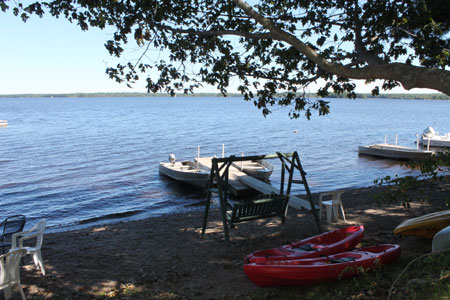 Motor boats and kayaks at our dock
