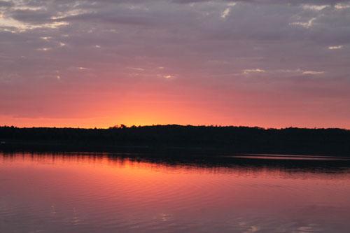 Spectacular scenery at Lakeside Cedar Cabins, Graham Lake, Ellsworth, Maine